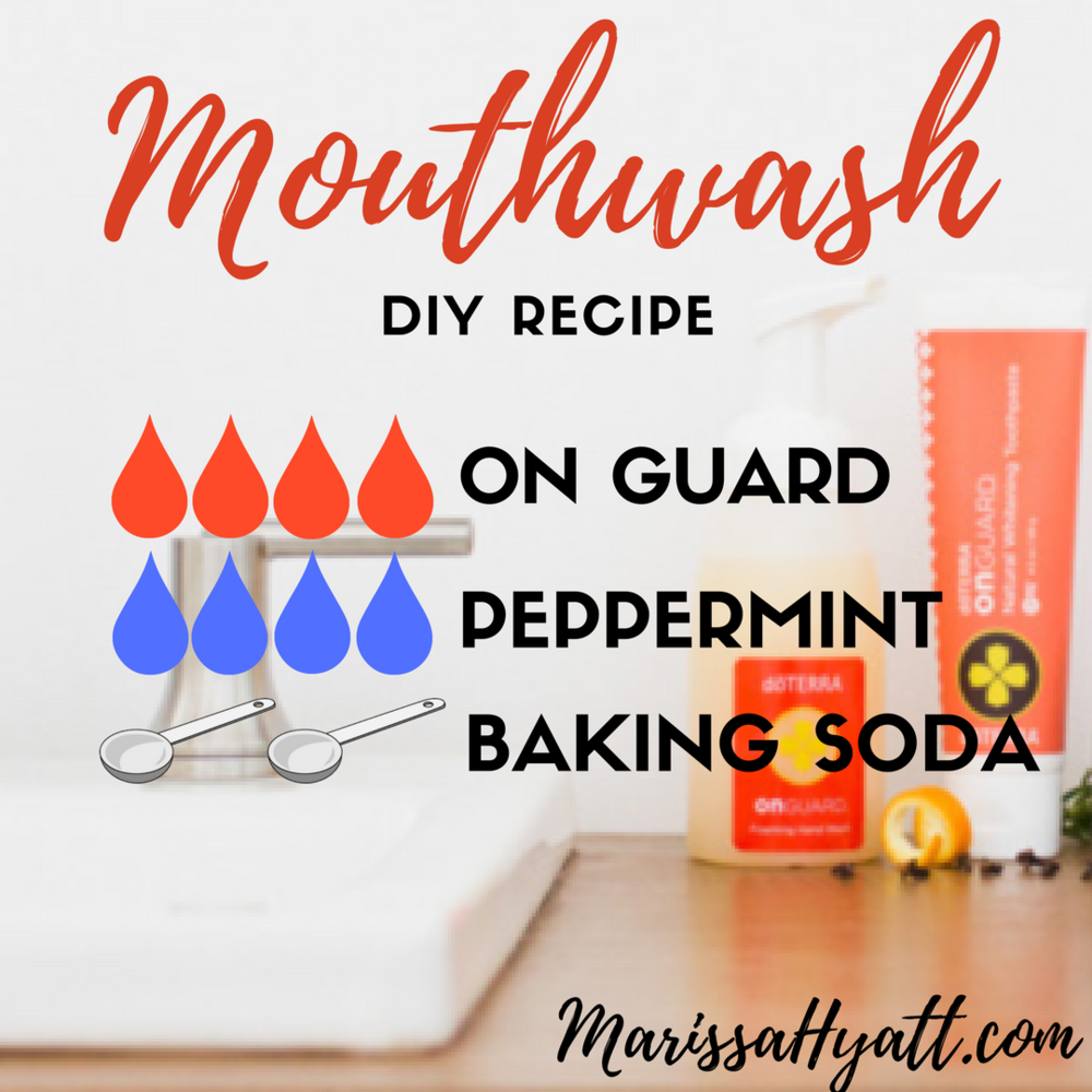 Mix 4 drops each On Guard® and Peppermint essential oils + 2 tbsp. baking soda in 2 cups of water in a glass bottle. Shake before use.