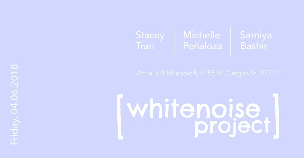 On Friday, April 6th the Whitenoise Project is thrilled to be able to host Michelle Peñaloza as our first visiting reader as well as the illimitable Samiya Bashir and Stacey Tran for a special reading to celebrate Stacey's newly released Soap for the Dogs!
