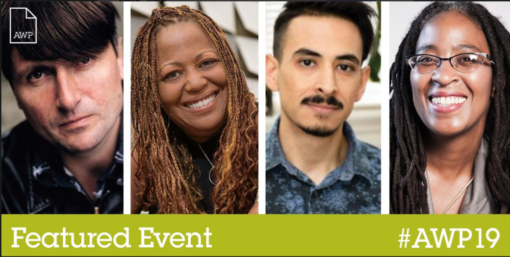 AWP is happy to announce this  #AWP19  featured event, a Reading & Conversation with Simon Armitage,  @scryptkeeper ,  @marcelo_H_ , and Camille Dungy, on 3/28 from 4:30 to 5:45 p.m. Thank you  @blueflowerarts  for putting together this awesome event!