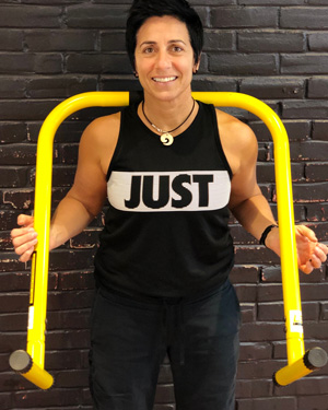 Barb Kaminer - Barb has been in the fitness industry for over 15 years first as a personal trainer and then as a fitness instructor. She is certified in multiple Les Mills programs (Bodypump, Bodycombat, Cxworx) and ran her own successful outdoor BootKAMp for many years.She is a stickler for form and loves to motivate people to do their best.When she's not out coaching participants, she is happiest in the company of books and cats (oh, and her wife and son 😉).