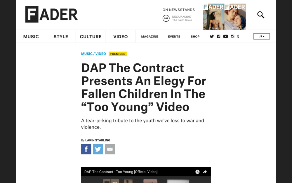READ FULL ARTICLE HERE --}  http://www.thefader.com/2017/02/15/dap-the-contract-too-young-video