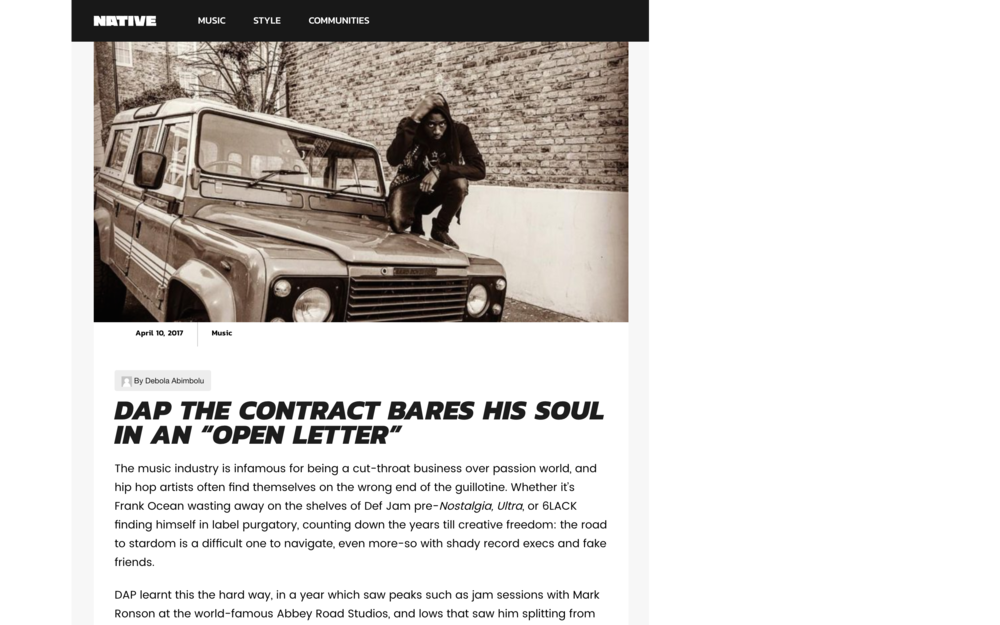 READ FULL ARTICLE HERE --}  http://thenativemag.com/music/dapthecontract-open-letter/