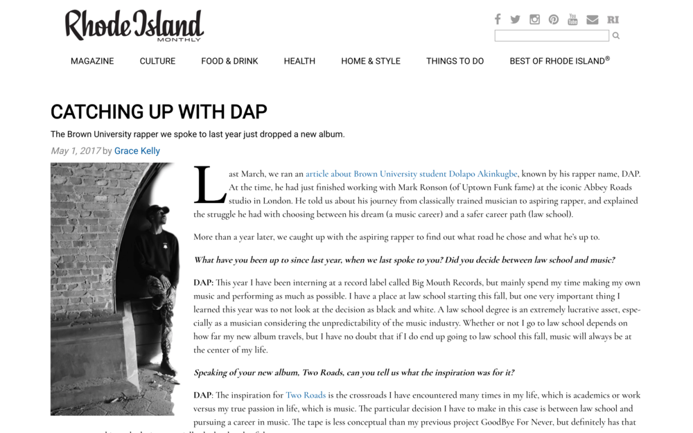 READ FULL ARTICLE HERE --}  http://www.rimonthly.com/catching-up-with-dap/