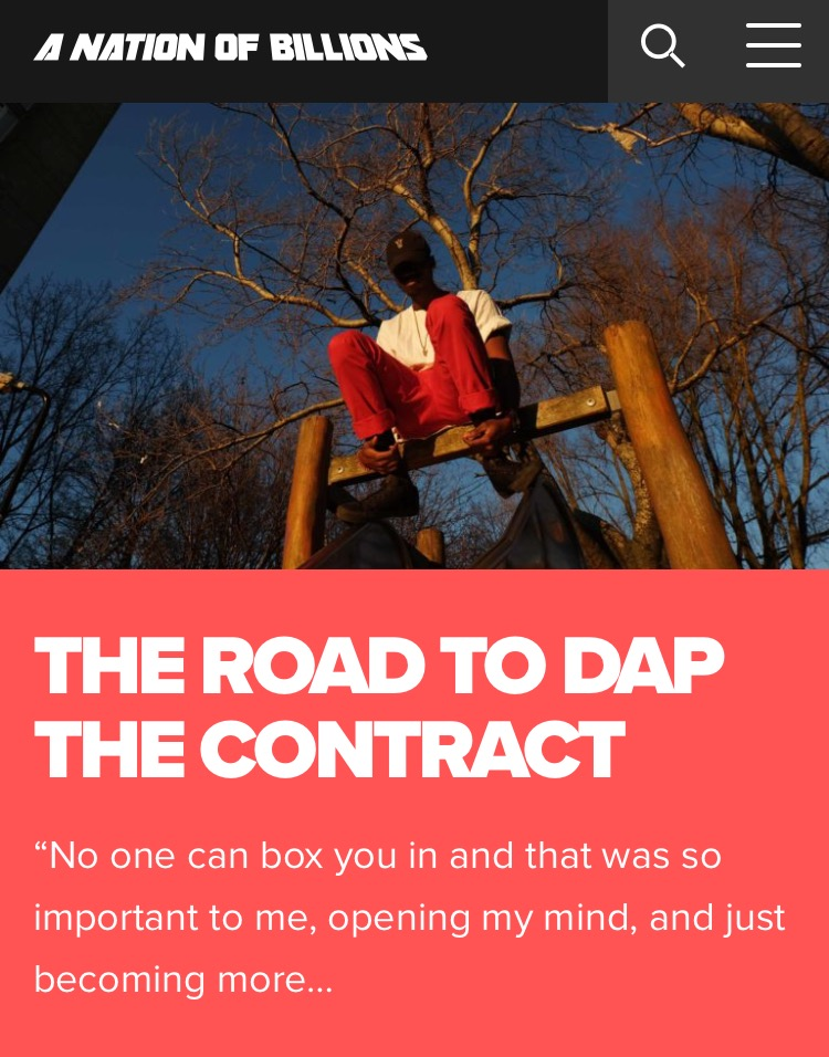 READ FULL INTERVIEW & FEATURE HERE --}  https://nationofbillions.com/the-road-to-dap-the-contract