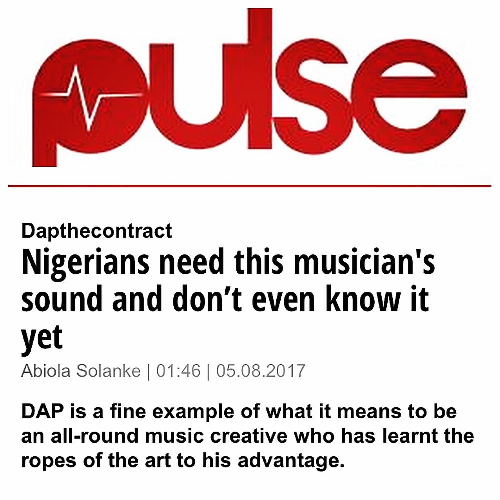 READ FULL INTERVIEW HERE (Written by Abiola Solanke) --} http://www.pulse.ng/buzz/dapthecontract-music-is-cut-out-of-a-different-cloak-id7099658.html