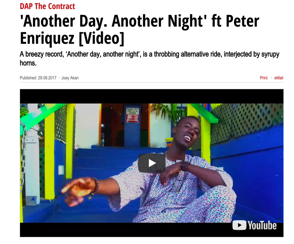 READ FULL ARTICLE HERE --} http://www.pulse.ng/music/dap-the-contract-another-day-another-night-ft-peter-enriquez-video-id7226605.html