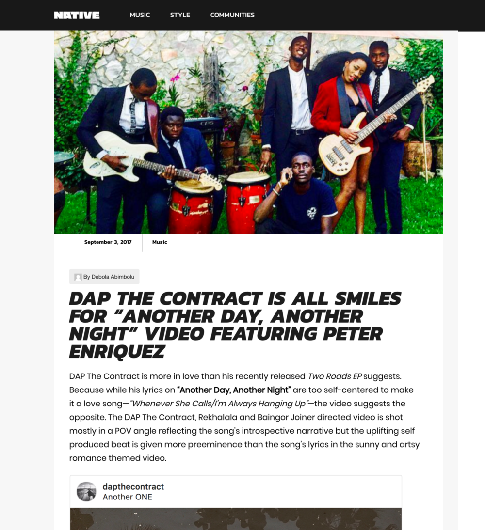 READ FULL ARTICLE HERE --} http://thenativemag.com/music/dap-contract-smiles-foranother-day-another-night-video-featuring-peter-enriquez/