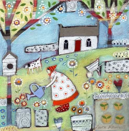 Tending To The Garden Original by Louise Rawlings