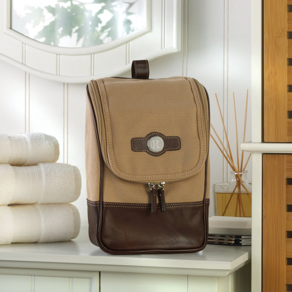 Personalized Leather and Canvas Men's Toiletries Bag.jpg