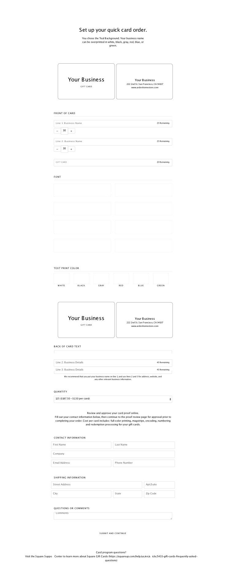 Current Quick Card design feature