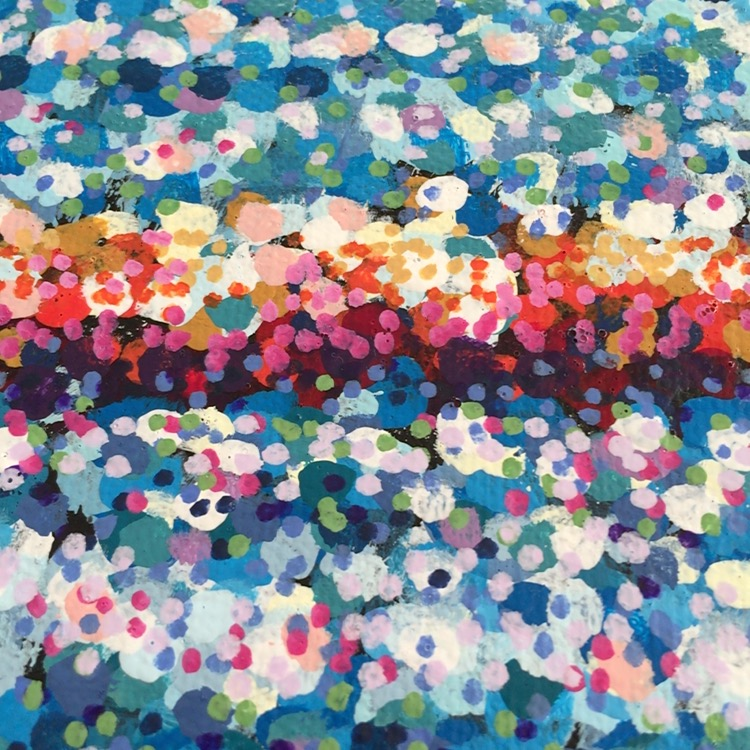 Close up of my experimental use of the much smaller dots on a canvas piece instead of a small panel.