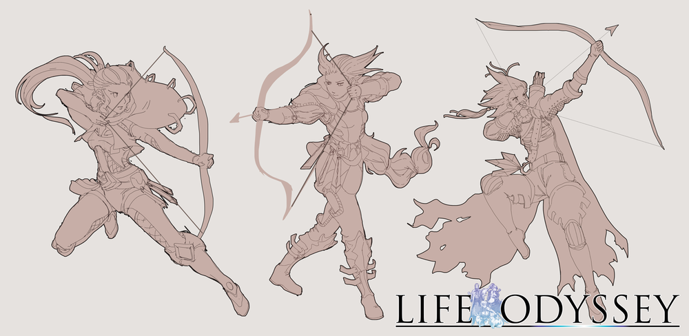 Female Archer - Character Design (Exploration Sketches)