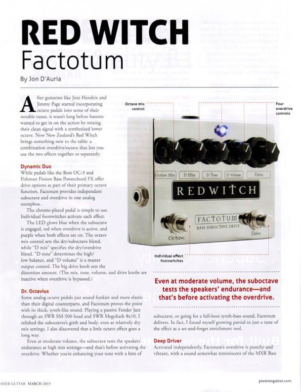 "Premier Guitar Factotum Review - March 2015 ""....There's nothing else on the market quite like it."" > Download Here"