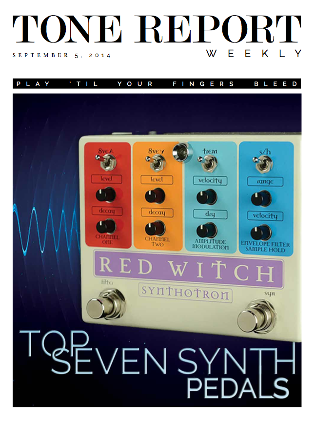 "Tone Report Weekly's Review of the Synthotron- September 2014 ""One of the most all-in-one synth solutions on the market today, the Red Witch Synthotron  offers a feature that not many pedals have ever offered: a sample-and-hold filter."" > Download here"