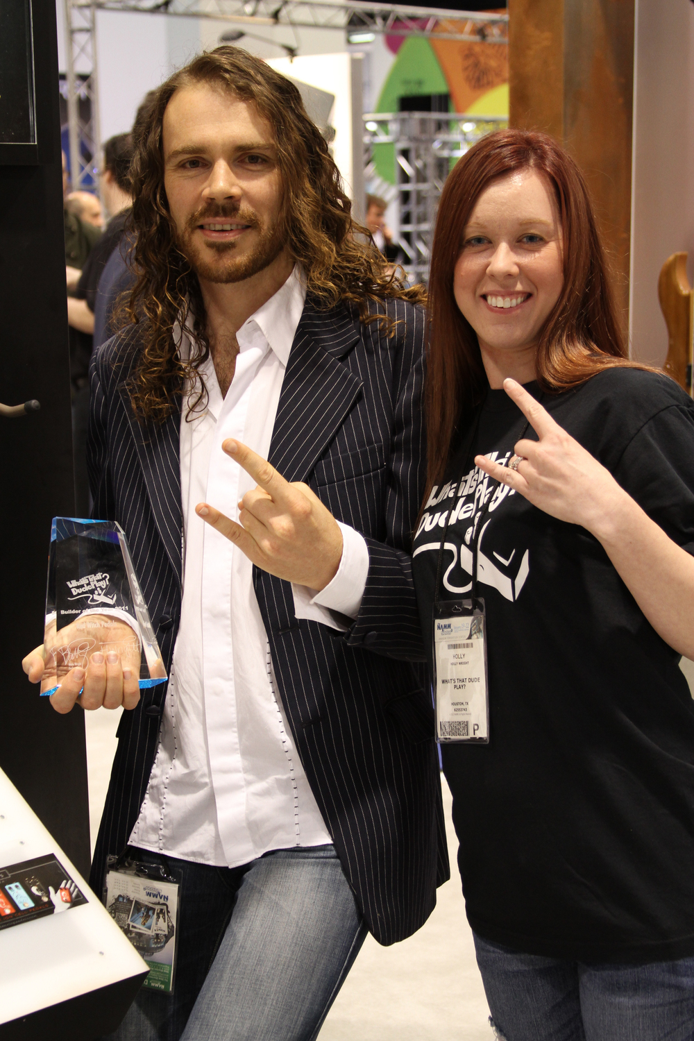 "Ben with Holly from ""What's That Dude Play""  (now Gearphoria) accepting the What's that Dude play International Pedal Builder of the year award 2011 for the Seven Sisters range."