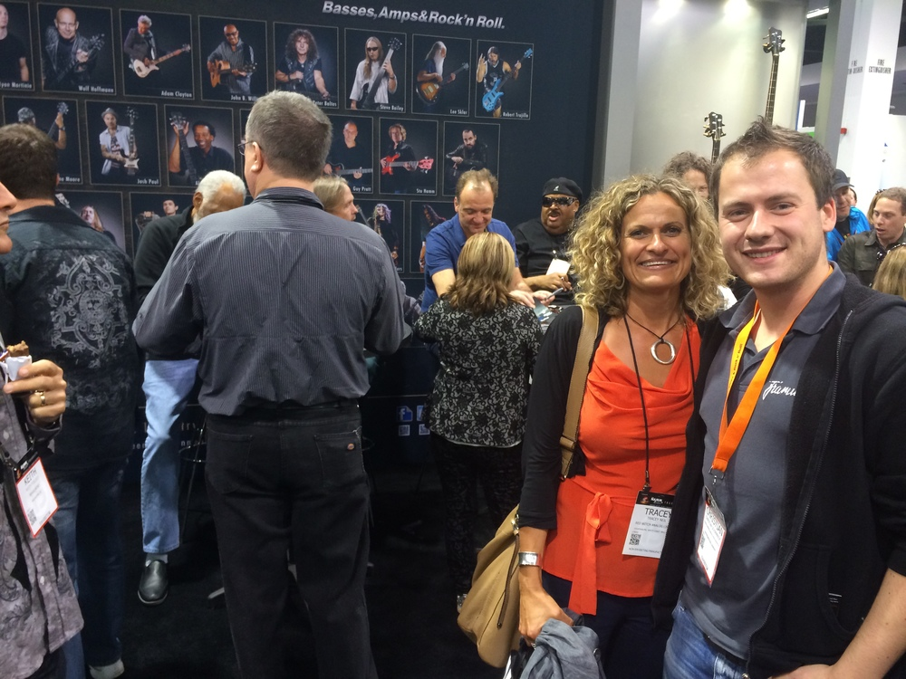 Tracey with Warwick's Products Specialist, Chris Schimmrick, NAMM 2015