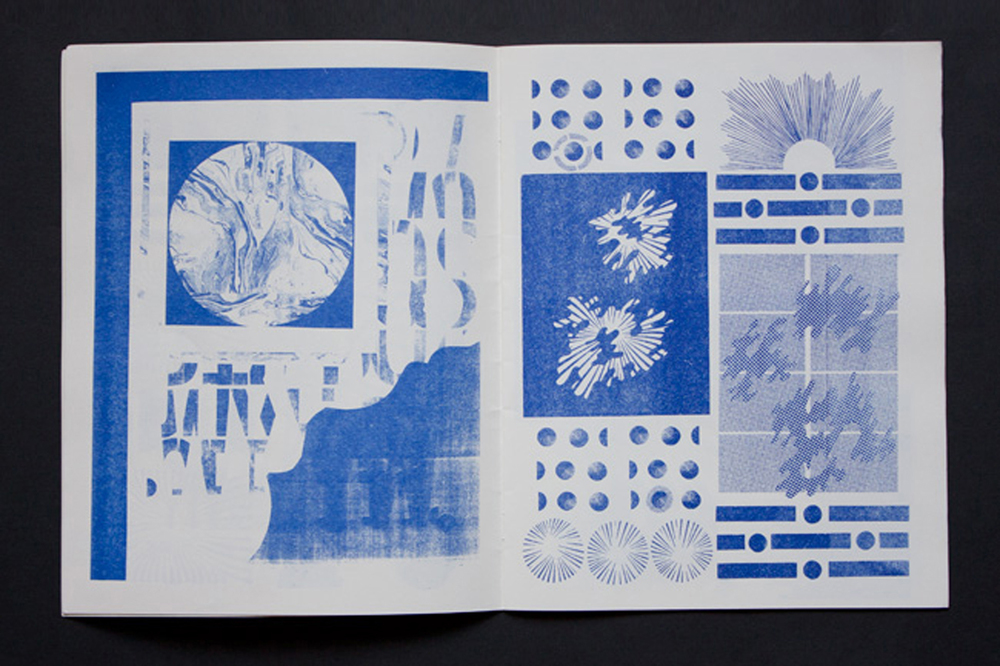 "Untitled  Risograph bookwork  24 pages, 8"" x 11""  Edition of 100  2011"