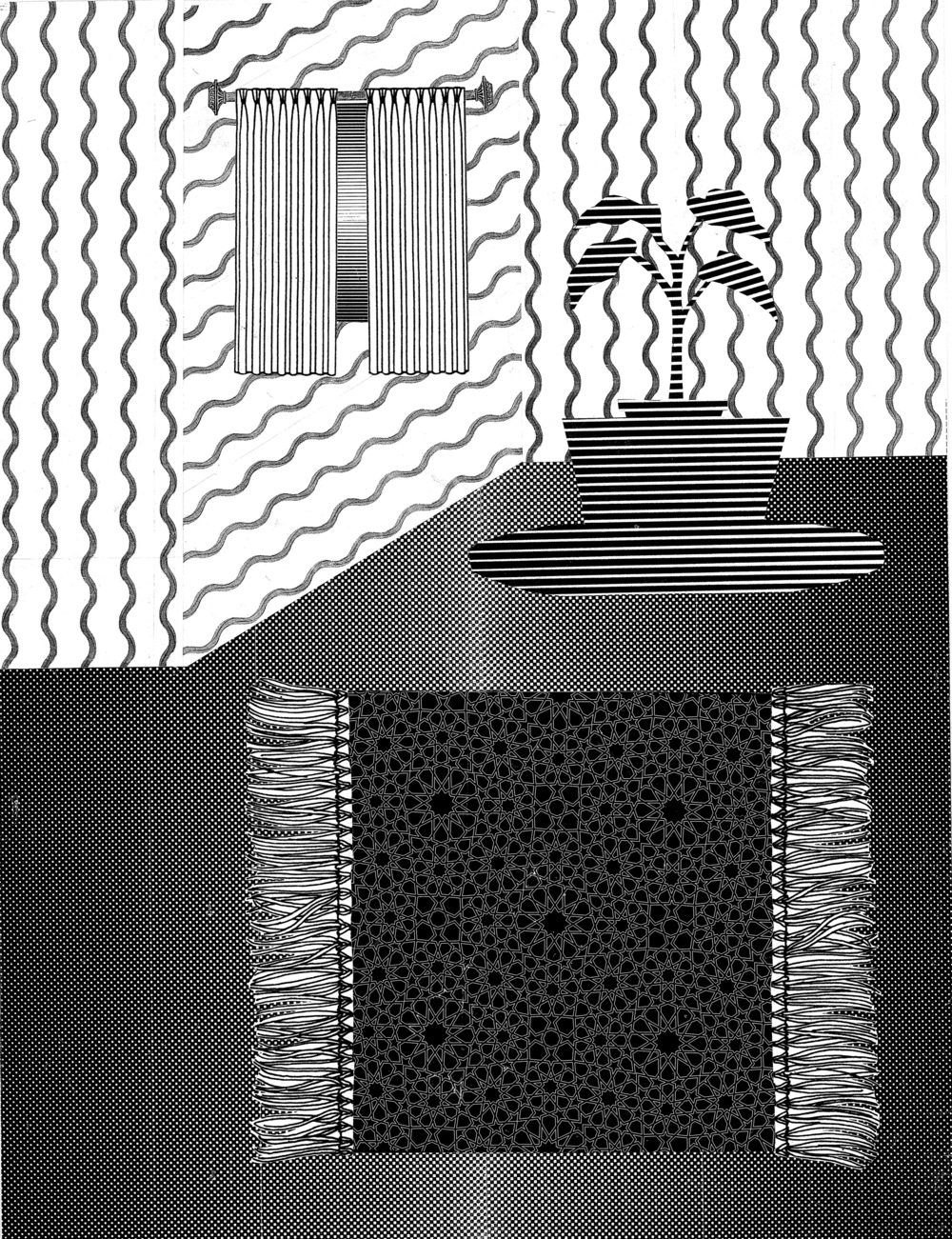 "In a room  Xerox collage  18"" x 24""  2014"