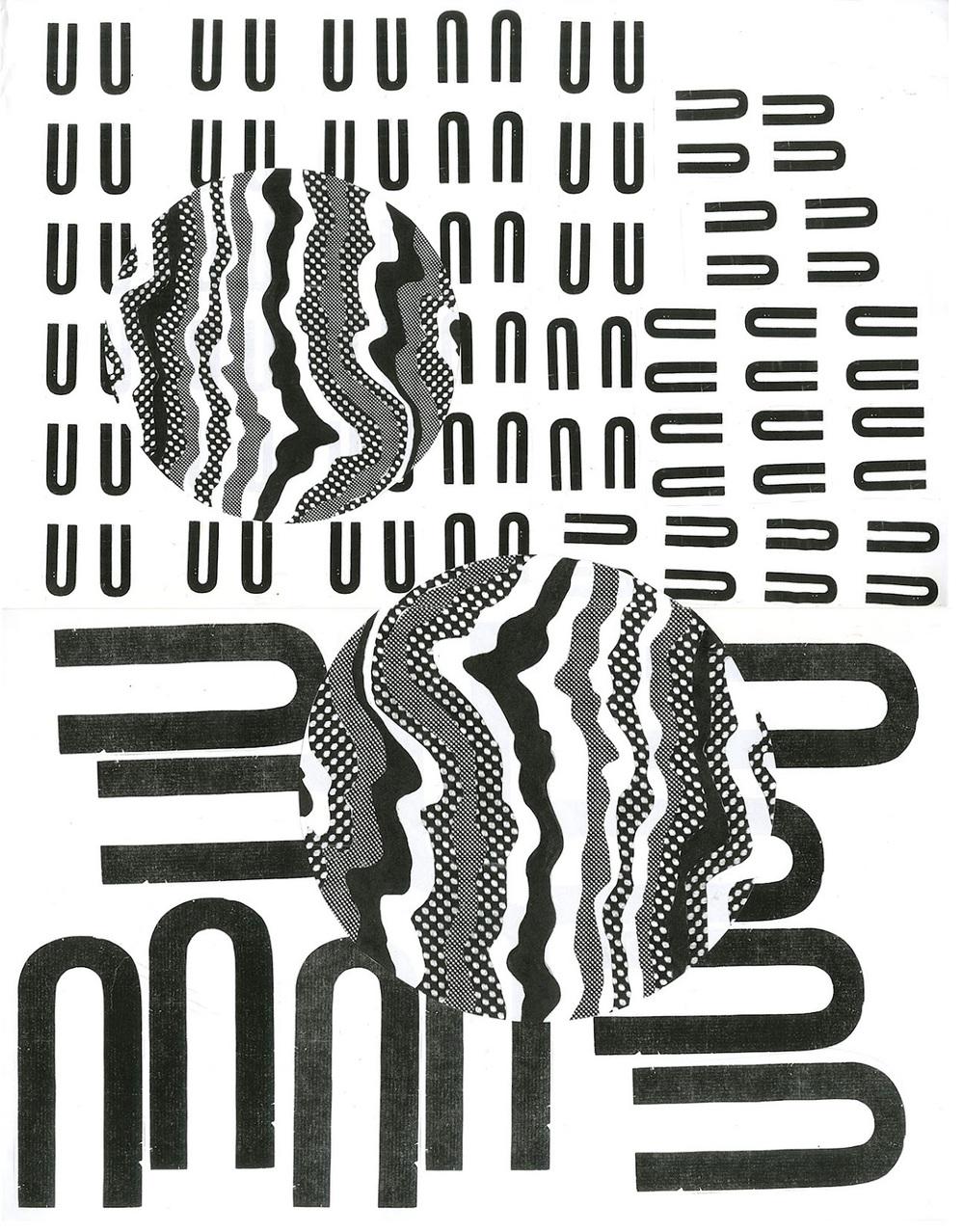 "Moon Song  Xerox collage  18"" x 24""  2011"