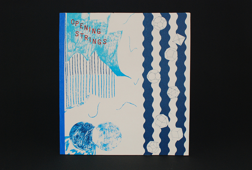 Opening Strings  Eunice Luk and Alicia Nauta  Screenprinted book, edition of 50  10 pages, 29 x 27.5 cm  2013
