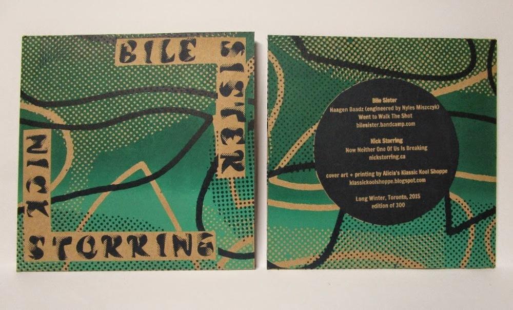 "album design and printing  Bile Sister/Nick Storring split for Long Winter  Screenprinted 7"" record sleeve, edition of 250  2015"