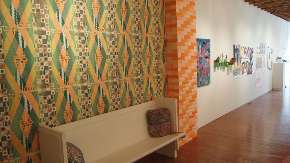 The Reading Nook  Screenprinted wallpaper by Alicia Nauta, screenprinted bricks by Ella Selbie, pillows by Alexandra Mackenzie  Narwhal Projects