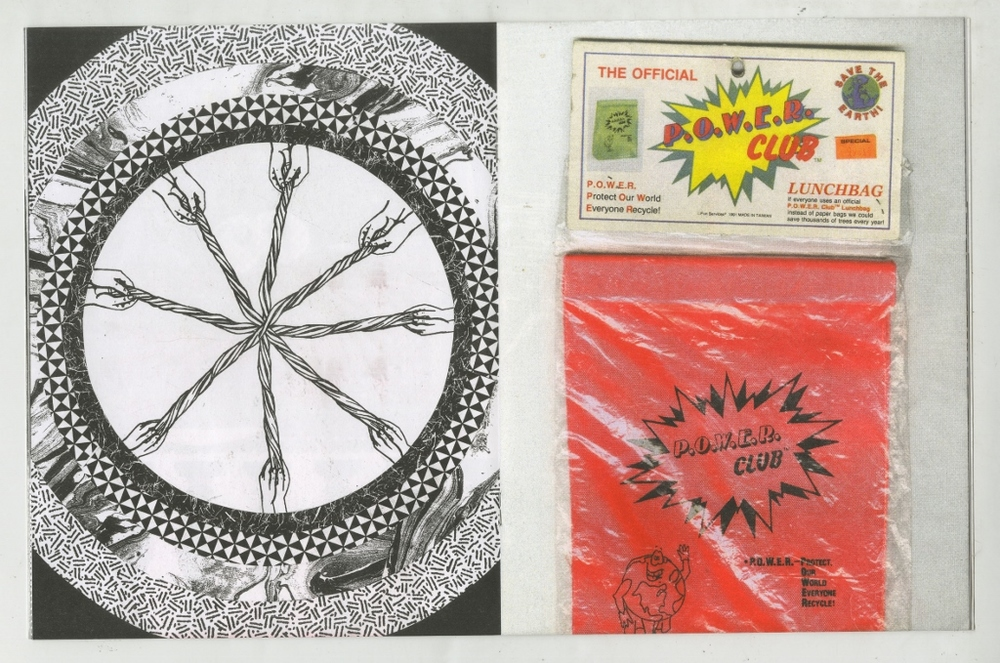 """spread from Alicia's Klassic Kool Shoppe, 2015  Edition of 200  7.5"""" x 9.75"""", 24 pages  Saddle stitch, risograph printed book.  Printed and published by  Colour Code   A collection of recent collages and items from a future museum."""