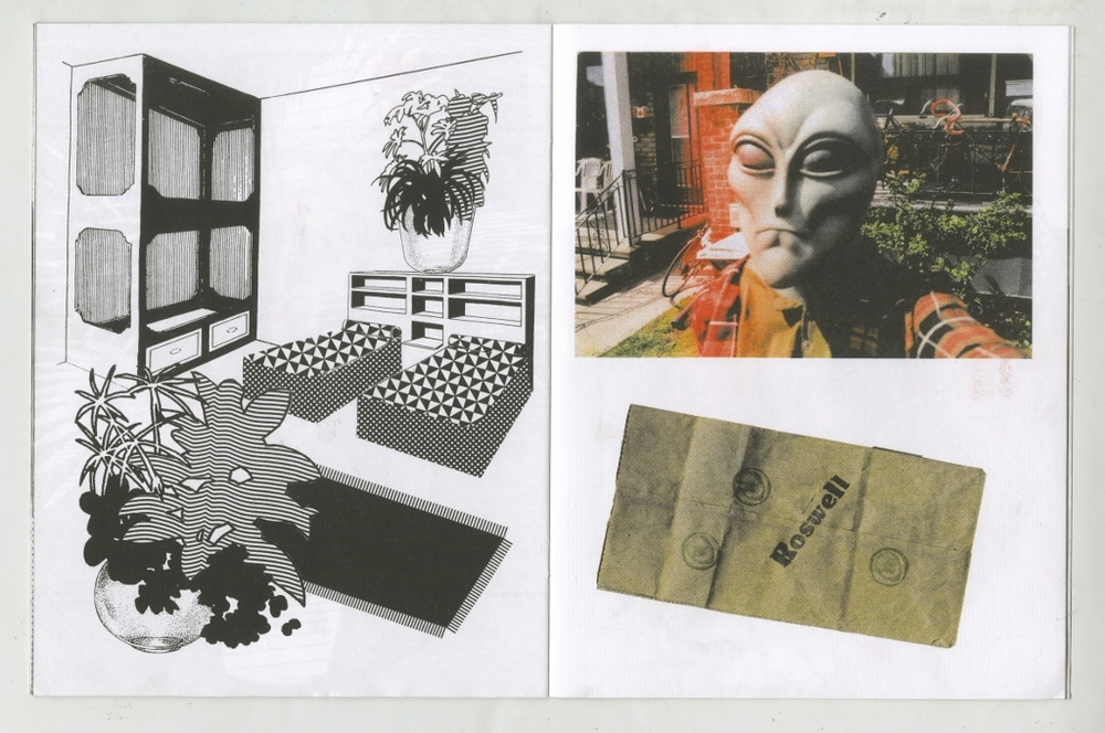 "spread from Alicia's Klassic Kool Shoppe, 2015  Edition of 200  7.5"" x 9.75"", 24 pages  Saddle stitch, risograph printed book.  Printed and published by  Colour Code   A collection of recent collages and items from a future museum."