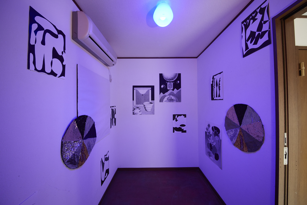 Brain room, collaboration with Eunice Luk  part of 'Your only private part is your brain' exhibition at Koganecho Art Centre in Yokohama, Japan  Screenprints and sequinned pinwheels with paintings by Eunice Luk  2016  photo by Yasuyuki Kasagi