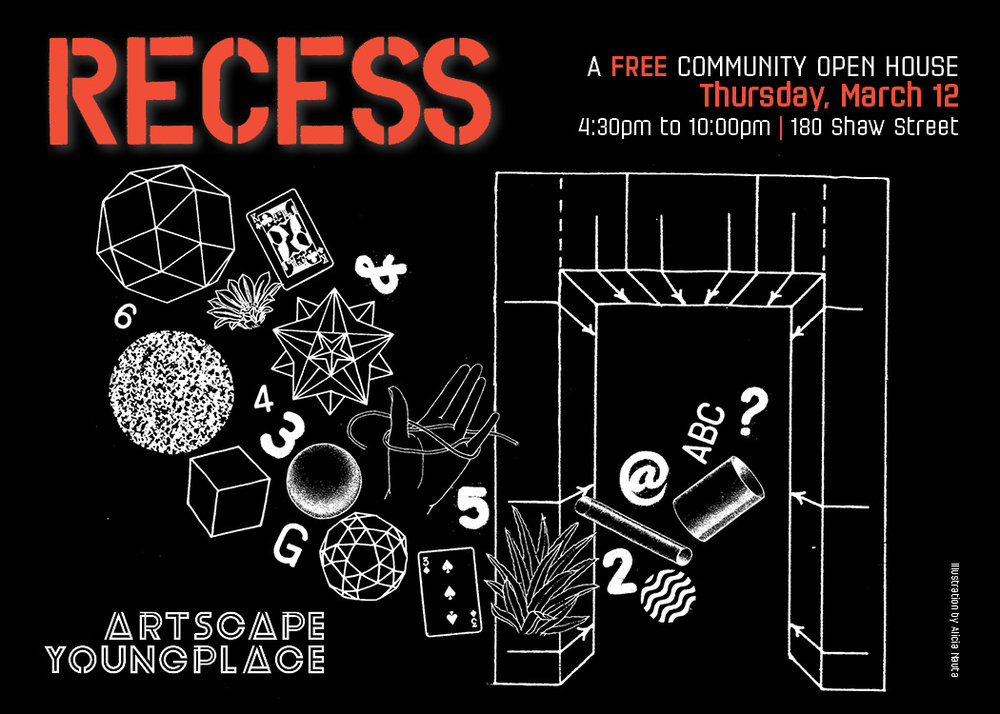illustration for Recess event  2015  Recess is a free community open house at Artscape Youngplace.