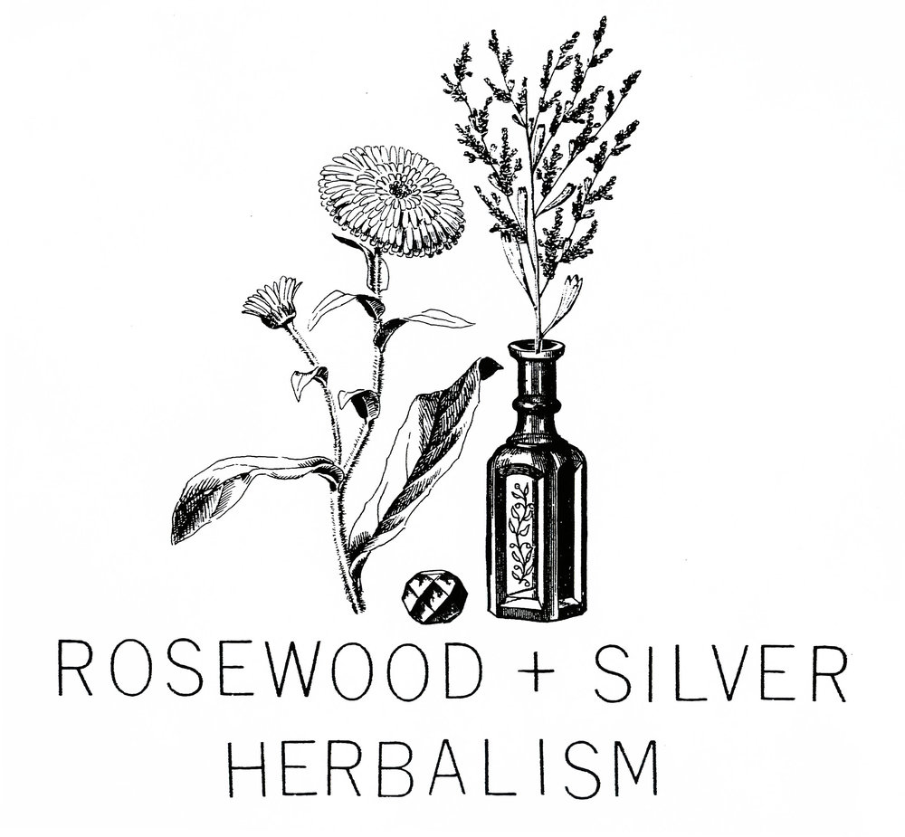 logo no. 1 for Rosewood + Silver Herbalism  2016  Melanie Hill, RH, is a registered medical herbalist, whose focus is plant and food based medicine. Her practice include herbs, nutrition, self-care, workshops and personal consultation.   @rosewoodandsilverherbs
