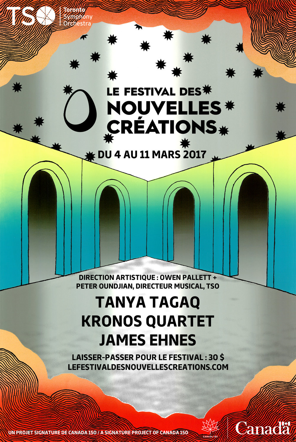"New Creations Festival 2017  (French version)  Screenprint  18"" x 27""  2017"