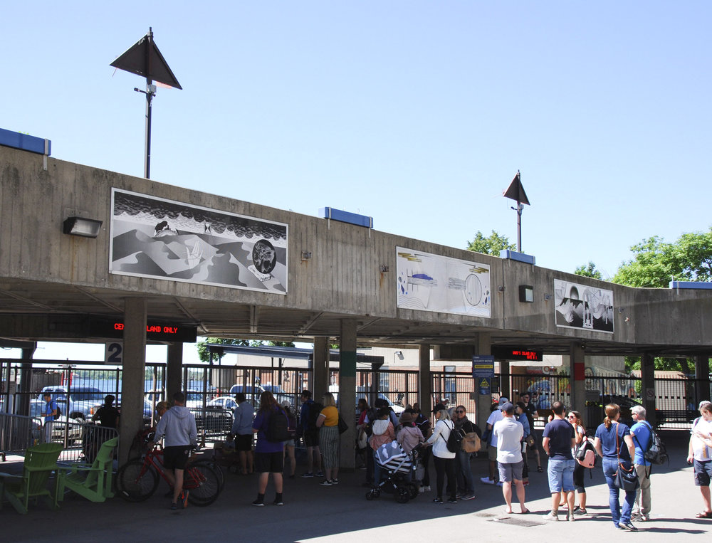 over horizon beyond  Jack Layton Ferry Terminal Toronto  four billboards, approx 3' x 10' each  (alternating with four billboards by Melissa Fisher-Rozenberg)  installation shot  curated by Lake Effects Projects  2018