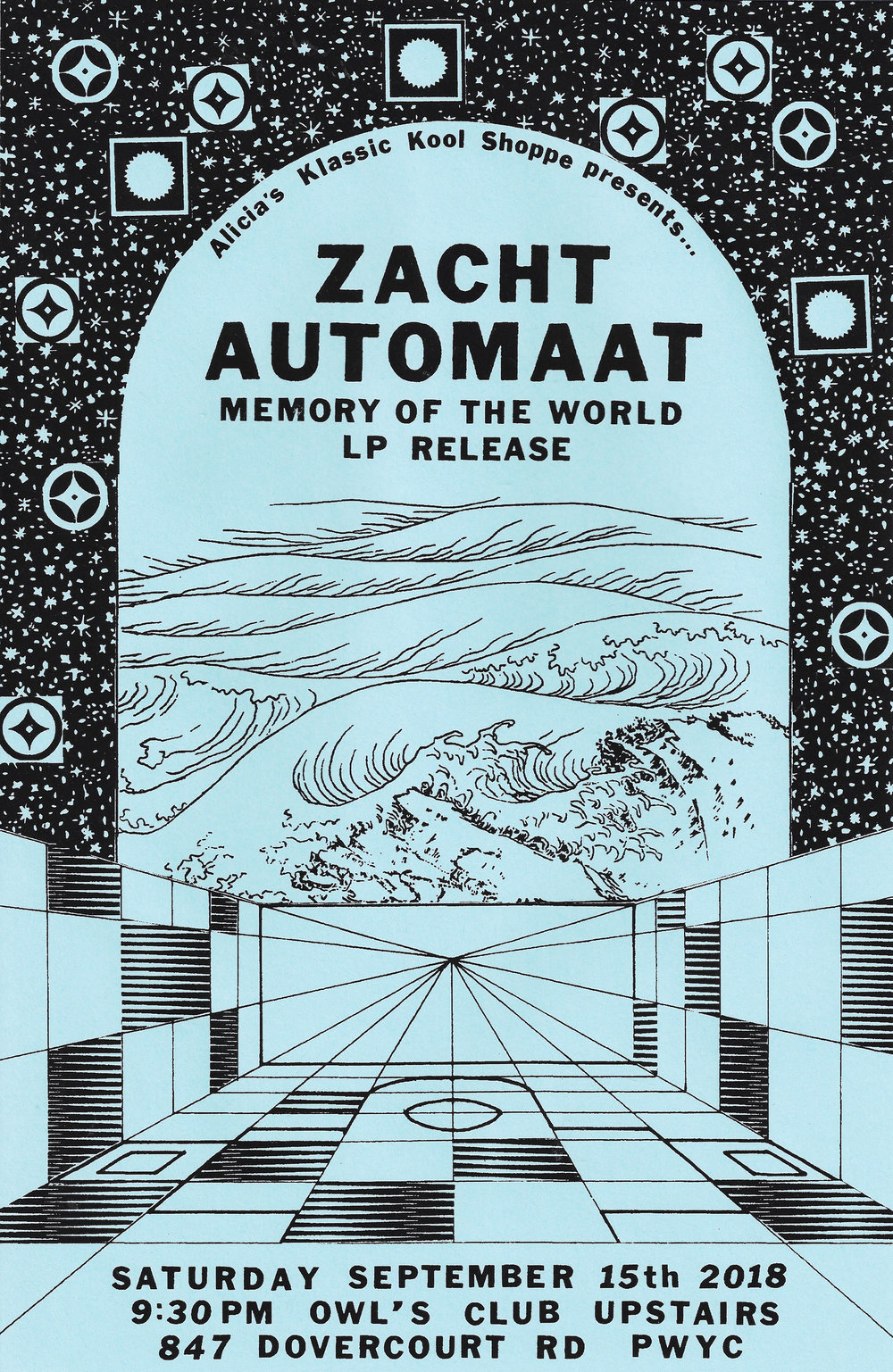 "Zacht Automaat Memory of the World LP release  screenprint  11"" x 17""  2018"