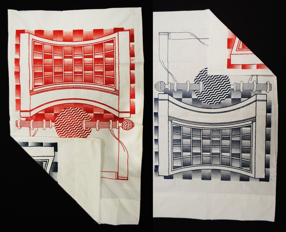 'Double double land' double sided pillowcase sets  Fabric ink on pillowcase  Blue on one side, red on the other  Open edition