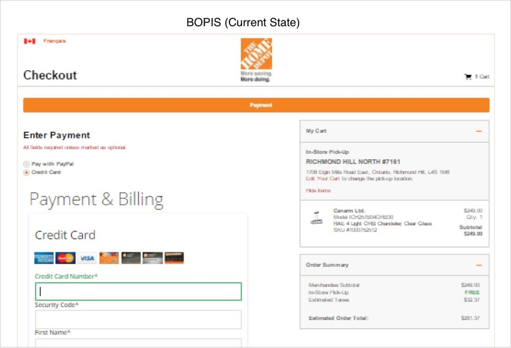 Current Checkout State for BOPIS (Right rail points out Pick Up Store Information)