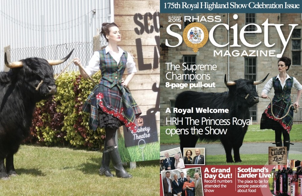 Shona 15th of Woodneuk with model Victoria Middleton advertising the Scottish Larder at the Royal Highland Show