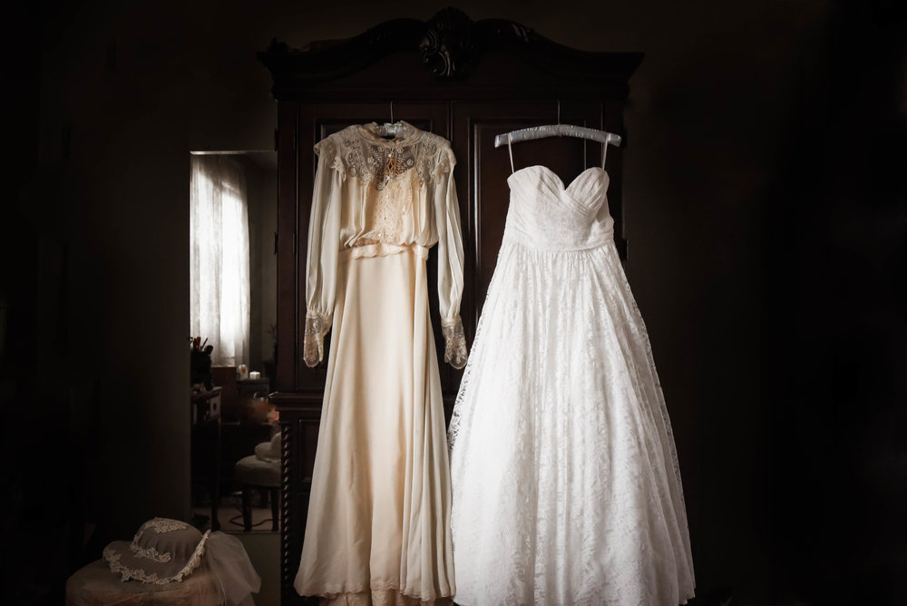 Rachel's mother's wedding dress & Rachel's wedding dress.