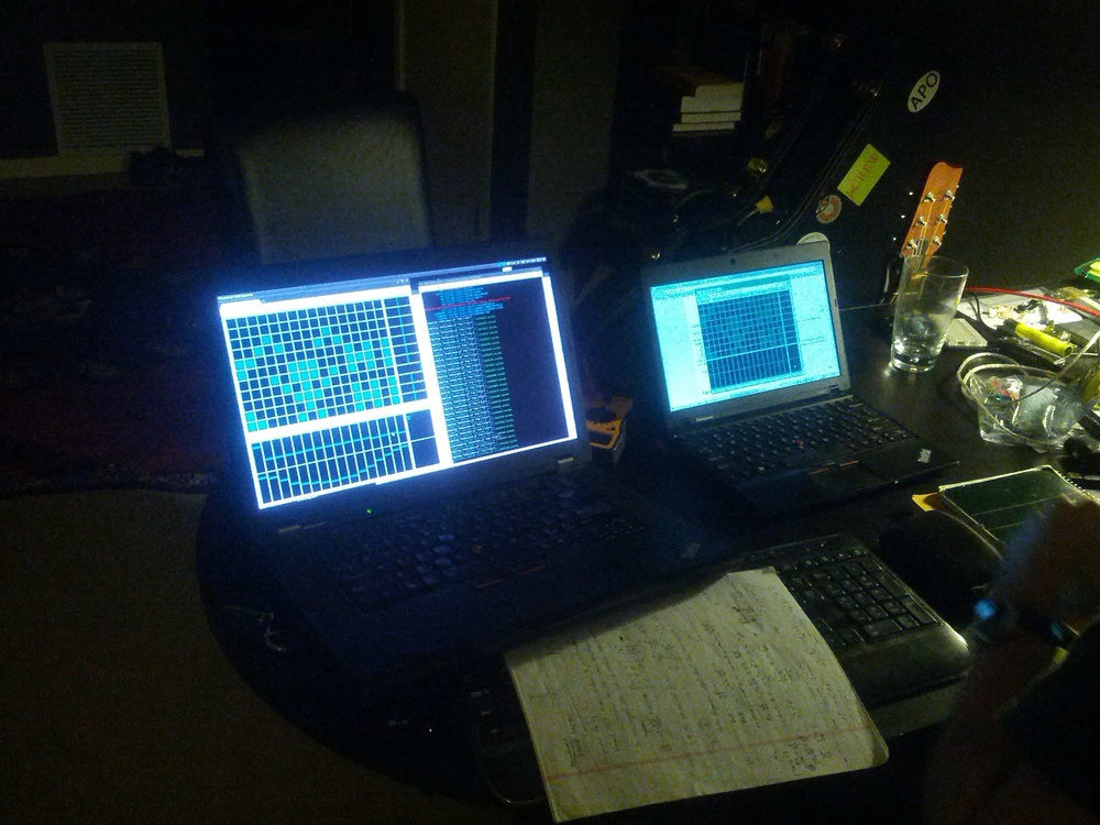 Pythagoras working with Audiocomp as a network-enabled musical sequencer, at a Boulder Music Hack Night in 2013.