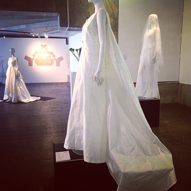 L to R: Verity, Alexandra, and Isadora gowns at Concept to Creation exhibition as part of VAMFF cultural program. Last day of exhibition today @vamff @novacancygallery @silktrader #alexsiscstar #novacancygallery #vamff #gown #silk #white #bride #wedding