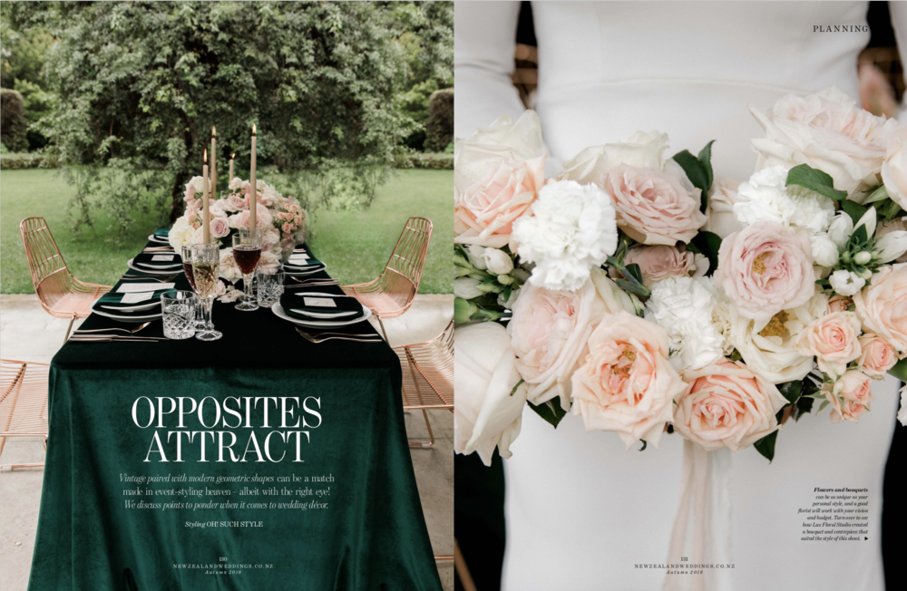 NZ Wedding Magazine Opposites Attract Page 1