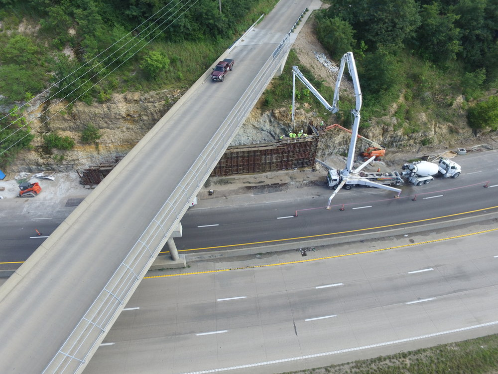I-44 Cast In Place Wall Slide Repair in progress