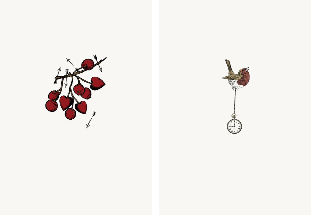 Wintery new art print additions to the 'Worts n all' series – Heart Thorn AND 'Angry Birds' series – Clock Robin