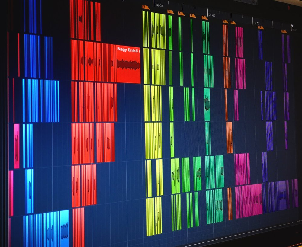 Working in Cubase, cutting up the stories into chapters.