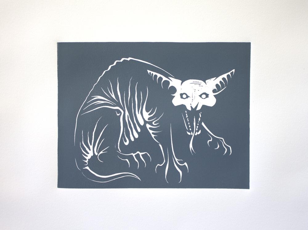 """Nightmare"" - Linocut print"