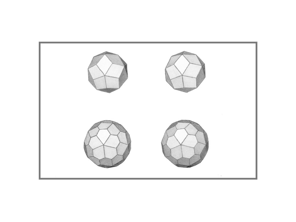 Graphite Drawings of Catalan Solids