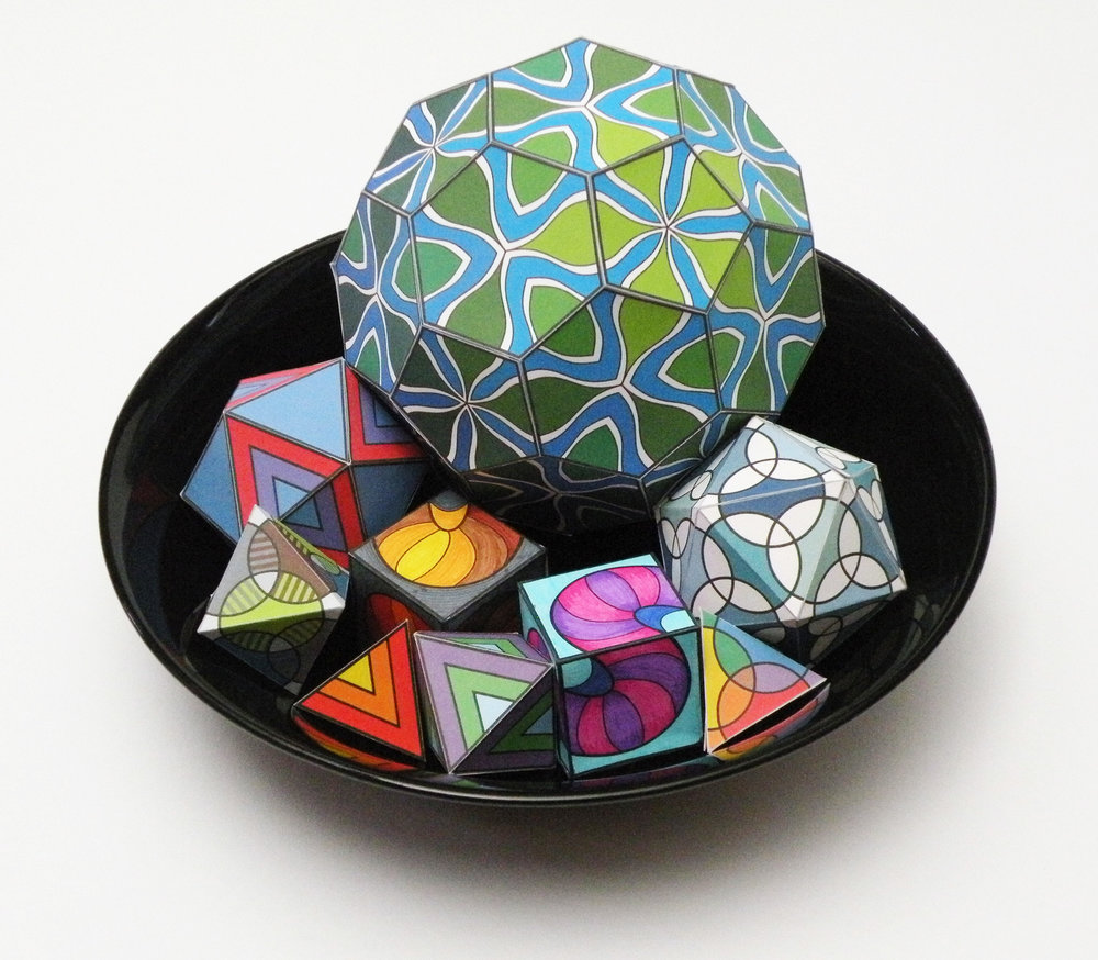Polyhedra walk together into a snazzy display.