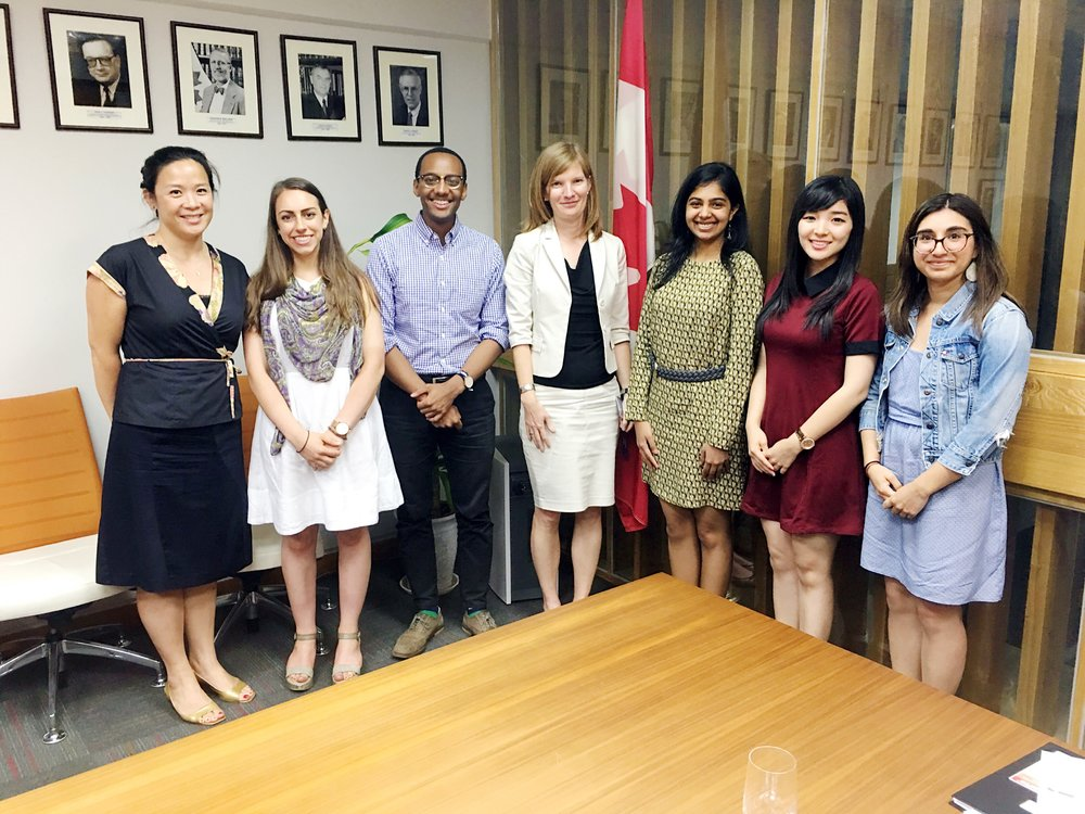 Deputy Head of Mission Mrs. Cindy Termorshuizhen _ Head of Political section Mrs. Jennie Chen with delegates at Canadian Embassy (Beijing 2016).jpg