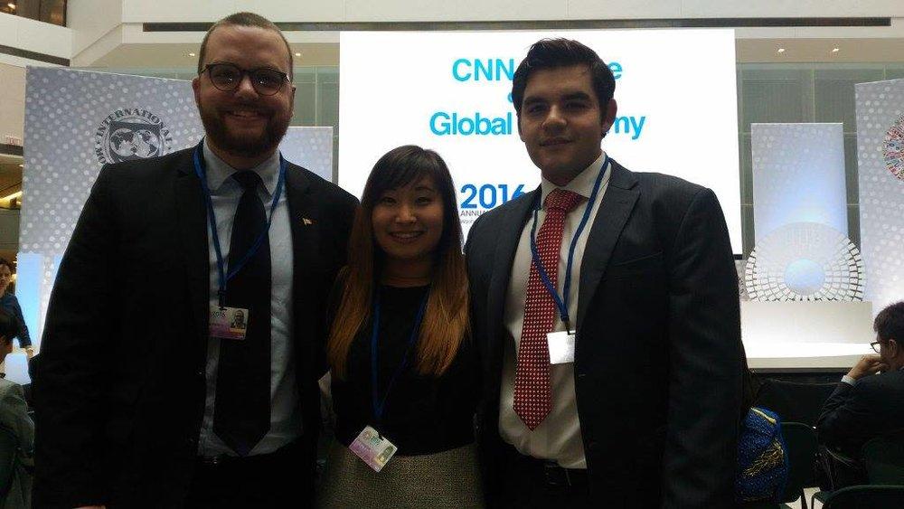 Canadian delegates following the CNN debate on the global economy.jpg