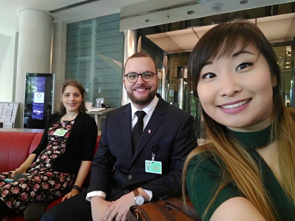 Delegates Isabelle Duchaine, Nicholas Schiavo and Cerina Lee preparing to meet with representatives at the Canadian Embassy.jpg